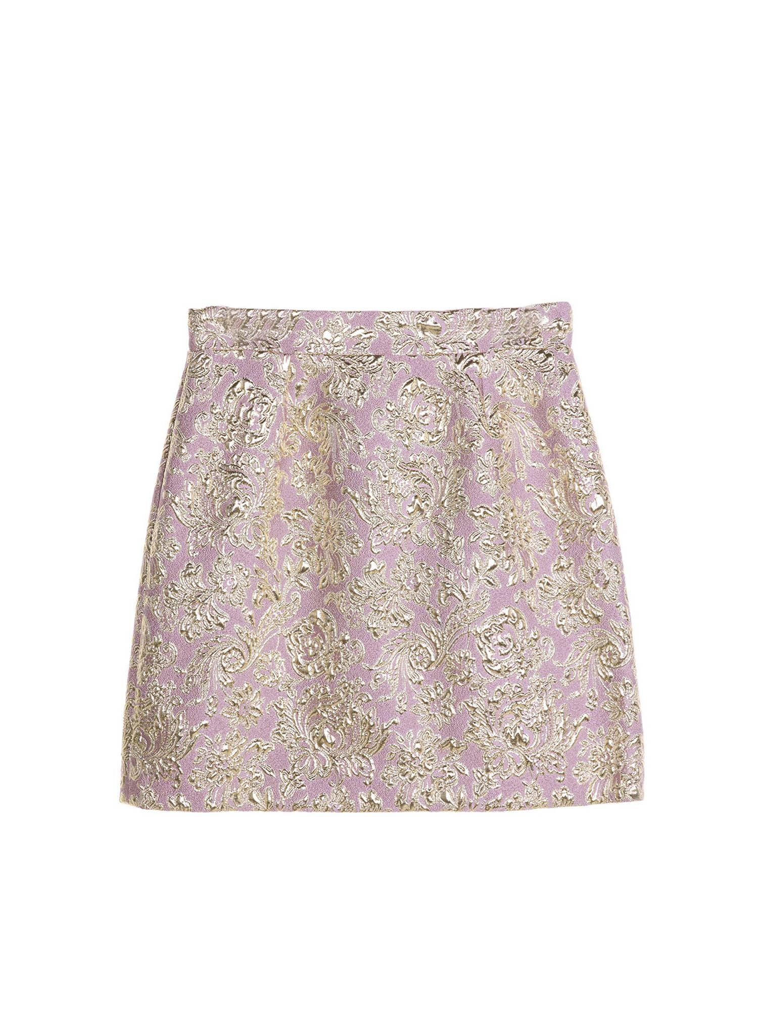 Dolce & Gabbana Jr LAMÉ INLAYS SHORT SKIRT IN PINK