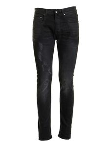 Les Hommes - Distressed effect skinny jeans in black