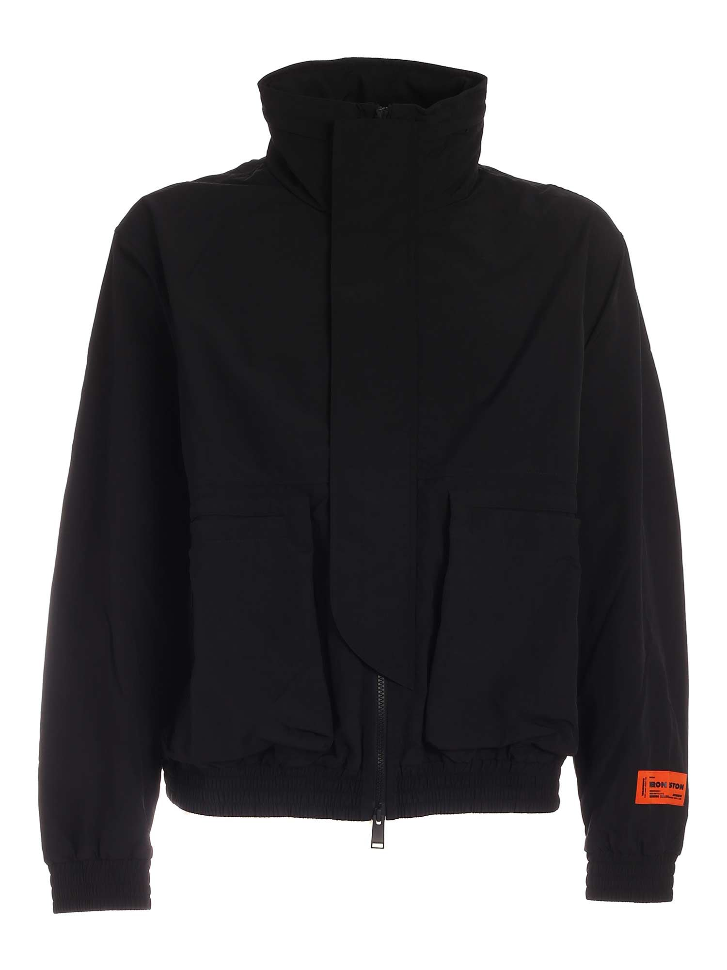 Heron Preston CONTRASTING PRINT JACKET IN BLACK