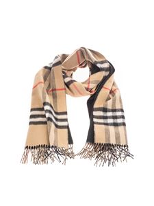 Burberry - Double face scarf in tartan beige and black