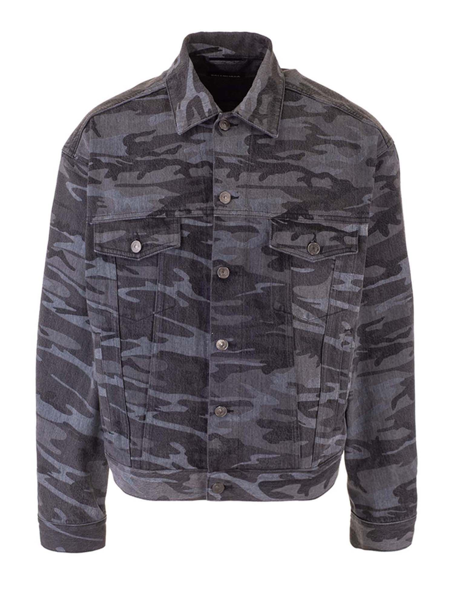 BALENCIAGA CAMOUFLAGE DENIM JACKET IN BLACK