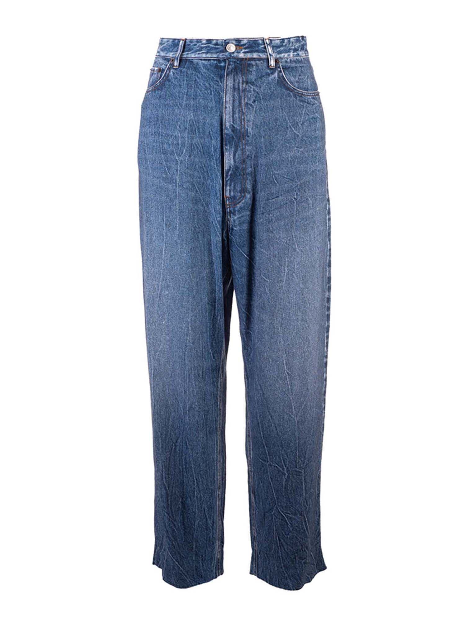 Balenciaga TROMPE L'OEIL BAGGY TROUSERS IN BLUE