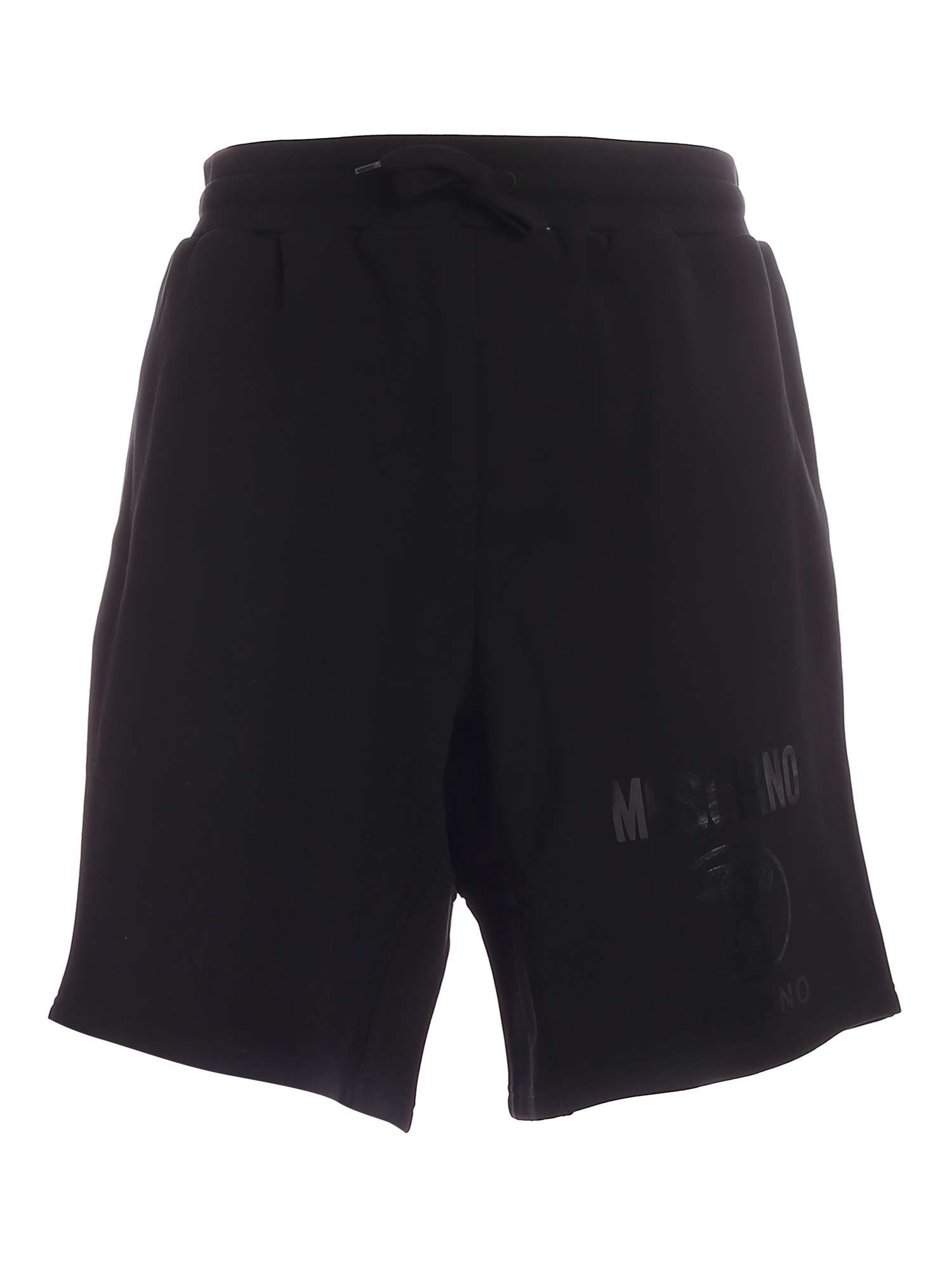 Moschino TONE-ON-TONE LOGO BERMUDA SHORT IN BLACK