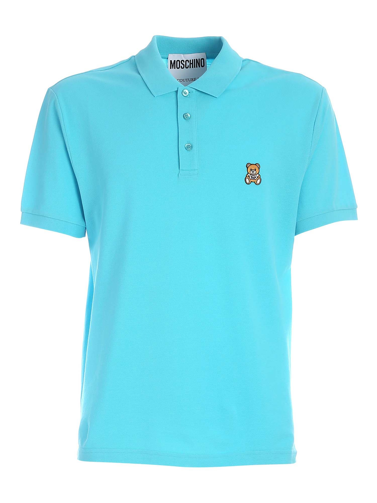Moschino Cottons TEDDY BEAR PATCH POLO SHIRT IN LIGHT BLUE