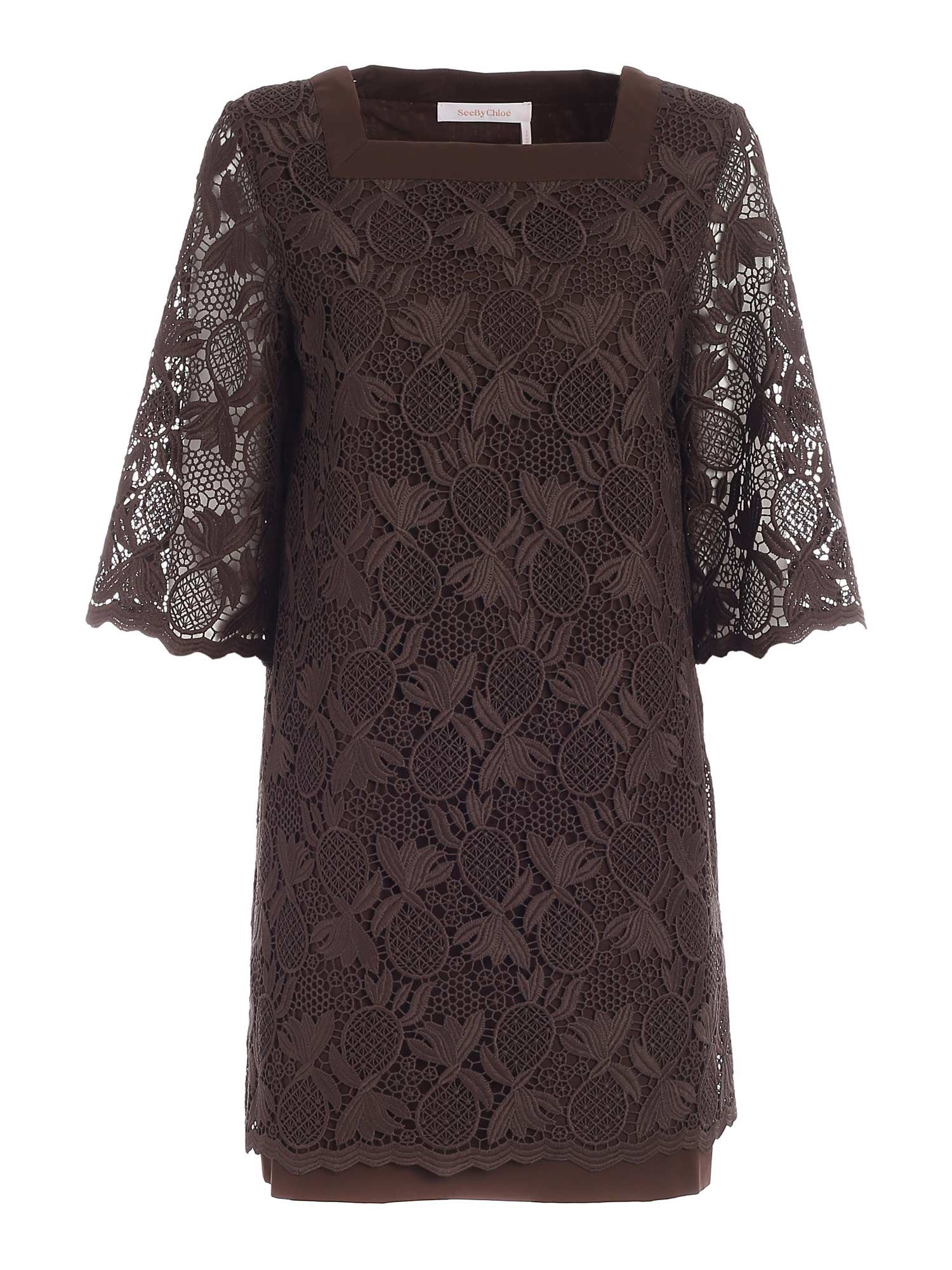 See By Chloé SHORT DRESS IN BROWN