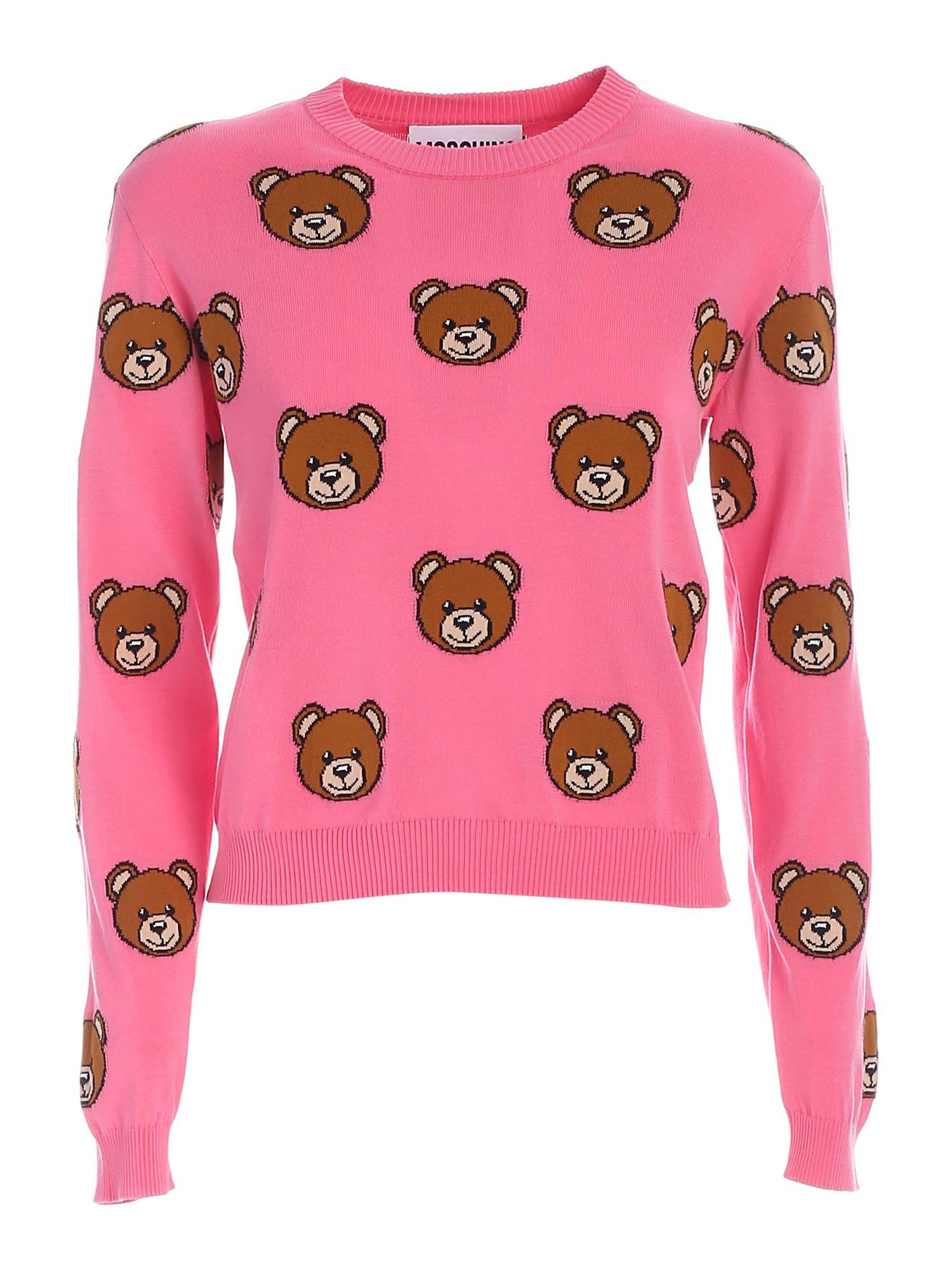 Moschino TEDDY BEAR CROP PULLOVER IN PINK