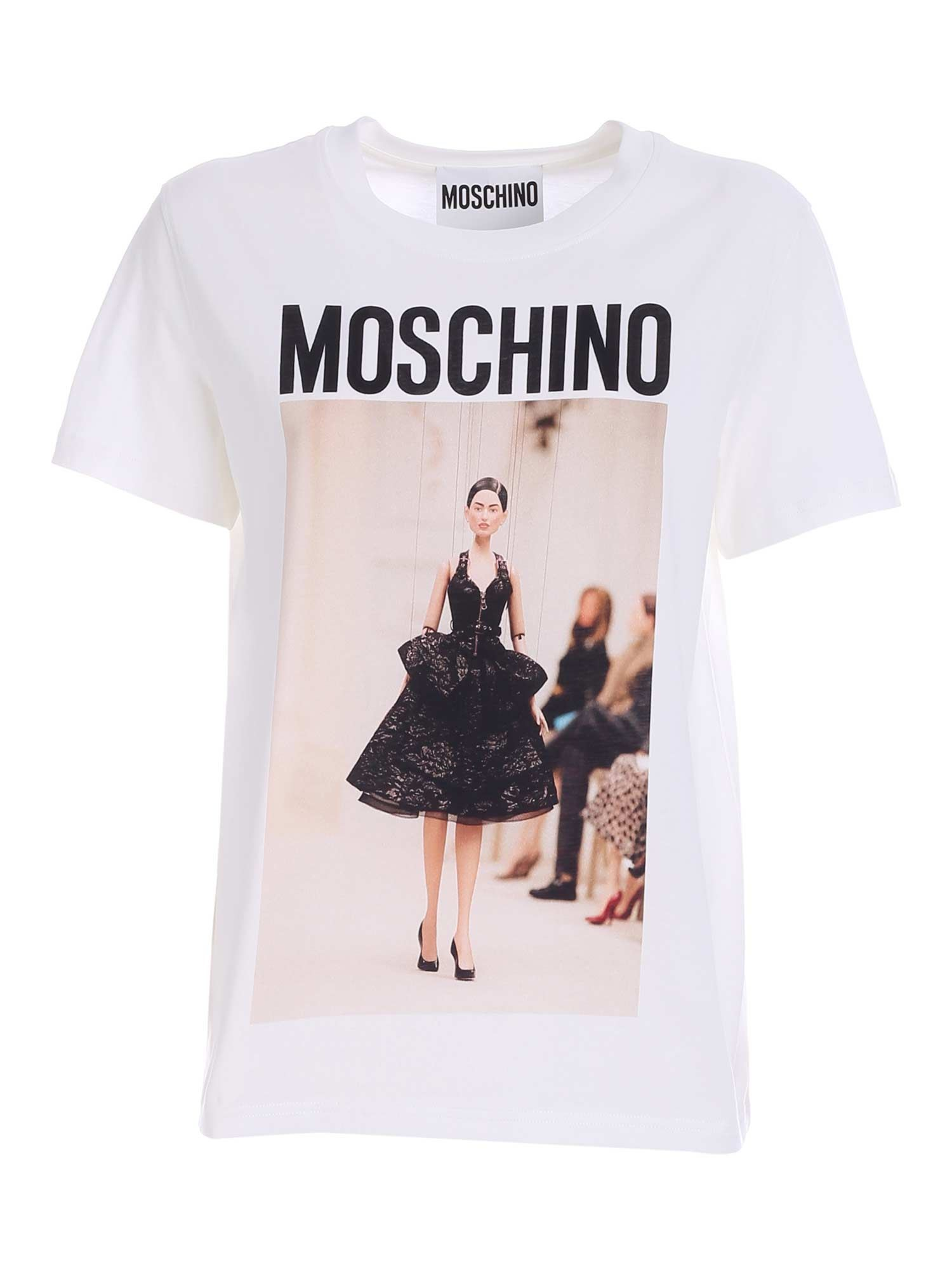 Moschino Cottons PRINT T-SHIRT IN WHITE