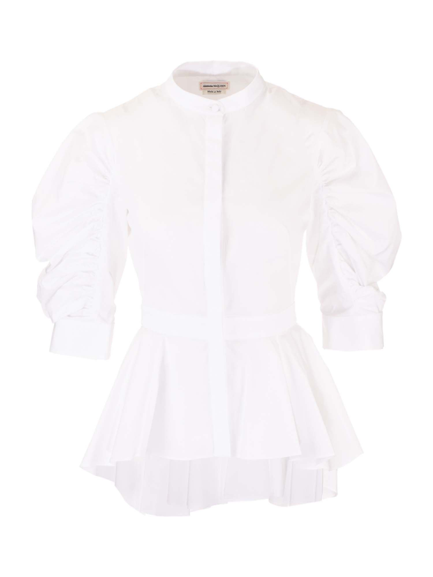 Alexander Mcqueen Cottons ALEXANDER MCQUEEN GATHERED SLEEVES SHIRT IN WHITE