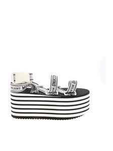 Moschino - Tape logo wedge sandals in white