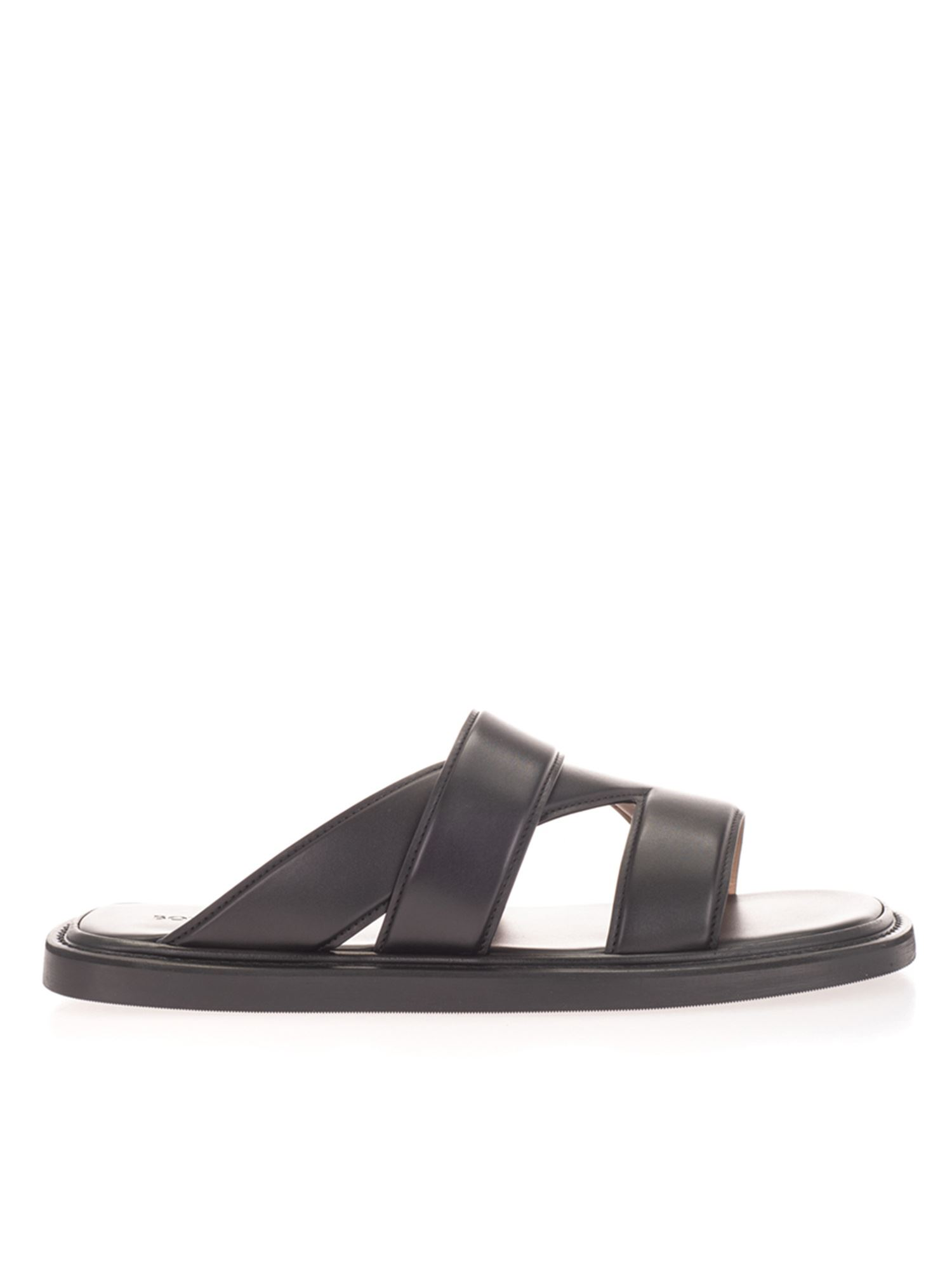 Bottega Veneta WOVEN LEATHER SLIDES IN BLACK