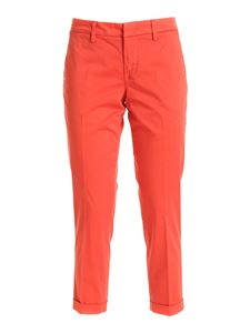Fay - Logo embroidery chino pants in red