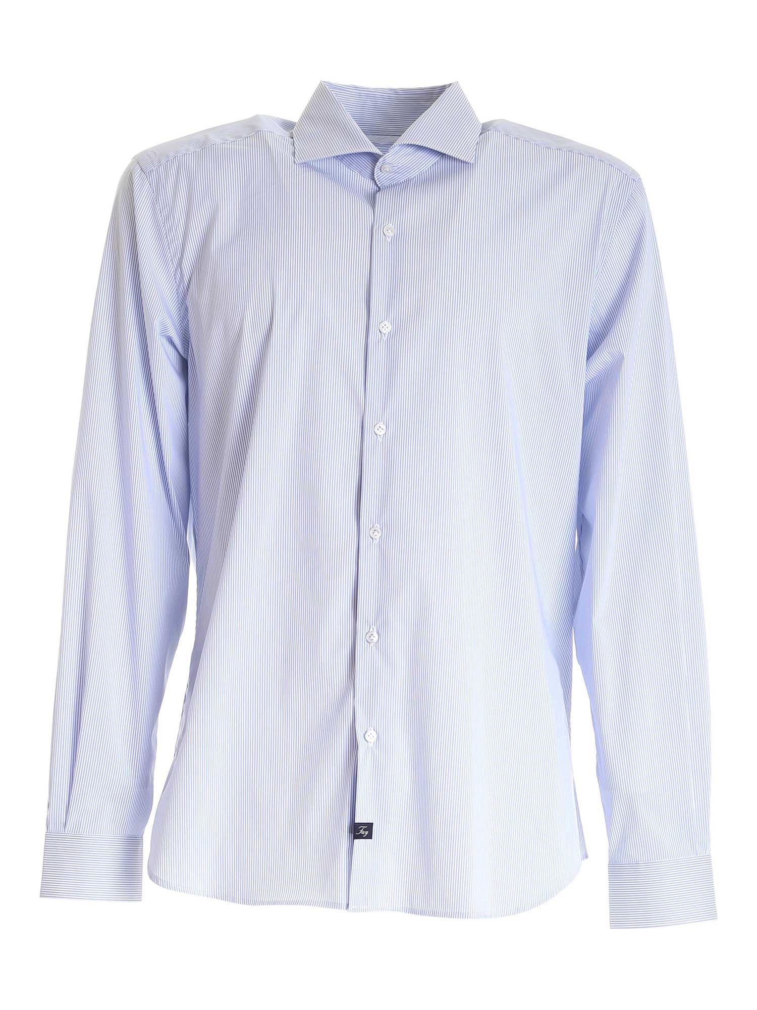 Fay Cottons STRIPED SHIRT IN WHITE AND LIGHT BLUE