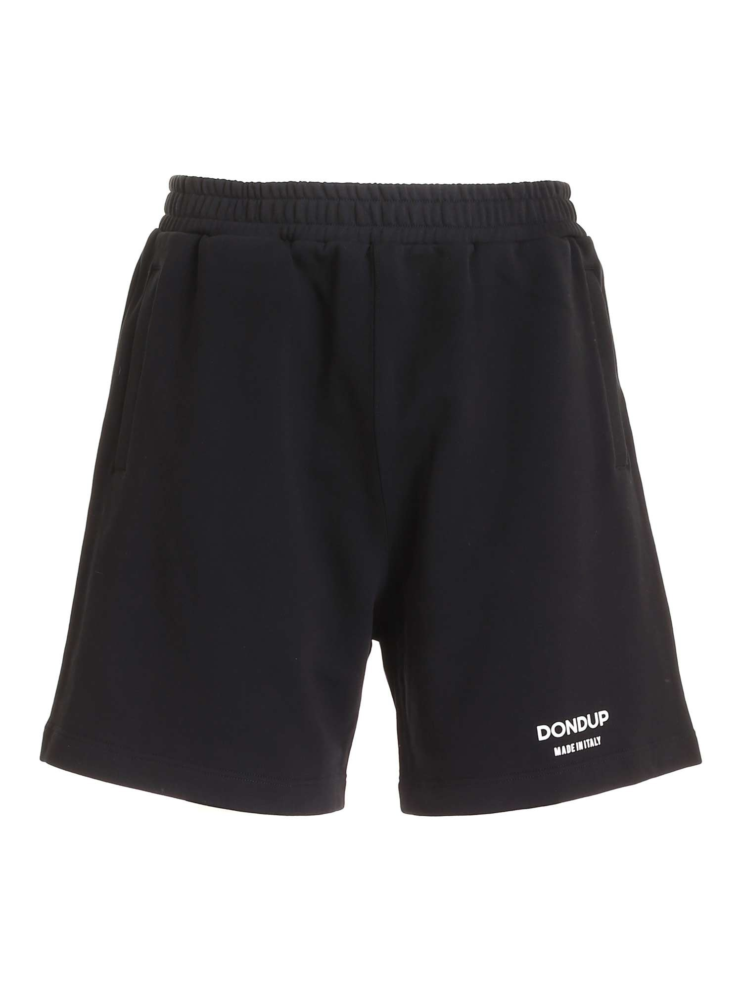 Dondup LOGO PRINT BERMUDA IN BLACK