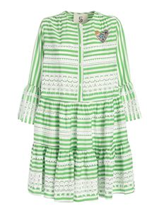 5 Progress - Striped dress in white and green