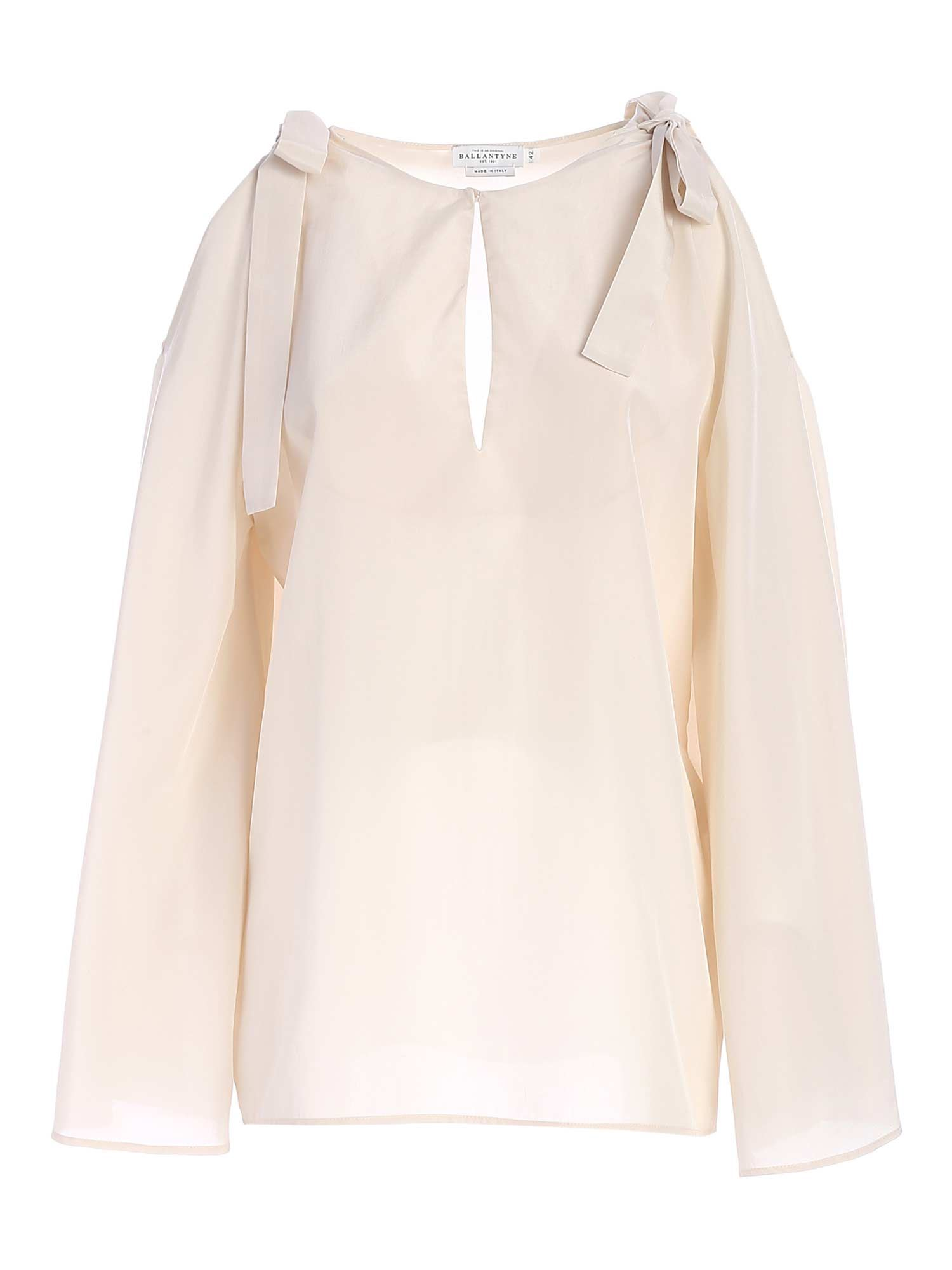 Ballantyne Silks BOWS BLOUSE IN WHITE