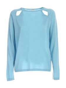 Ballantyne - Ribbed edges sweater in light blue