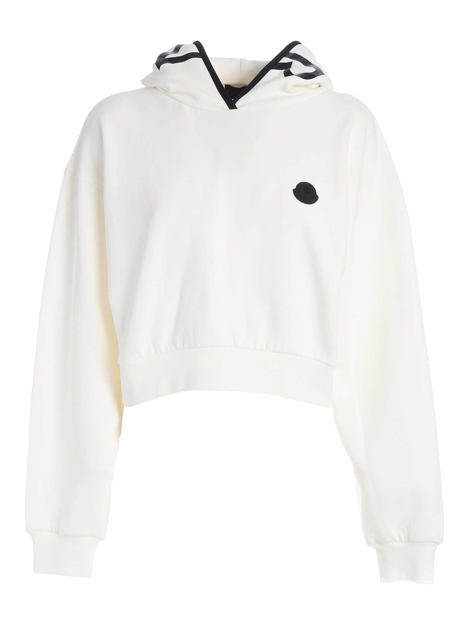 Moncler Grenoble LOGO CROP SWEATSHIRT IN IVORY COLOR