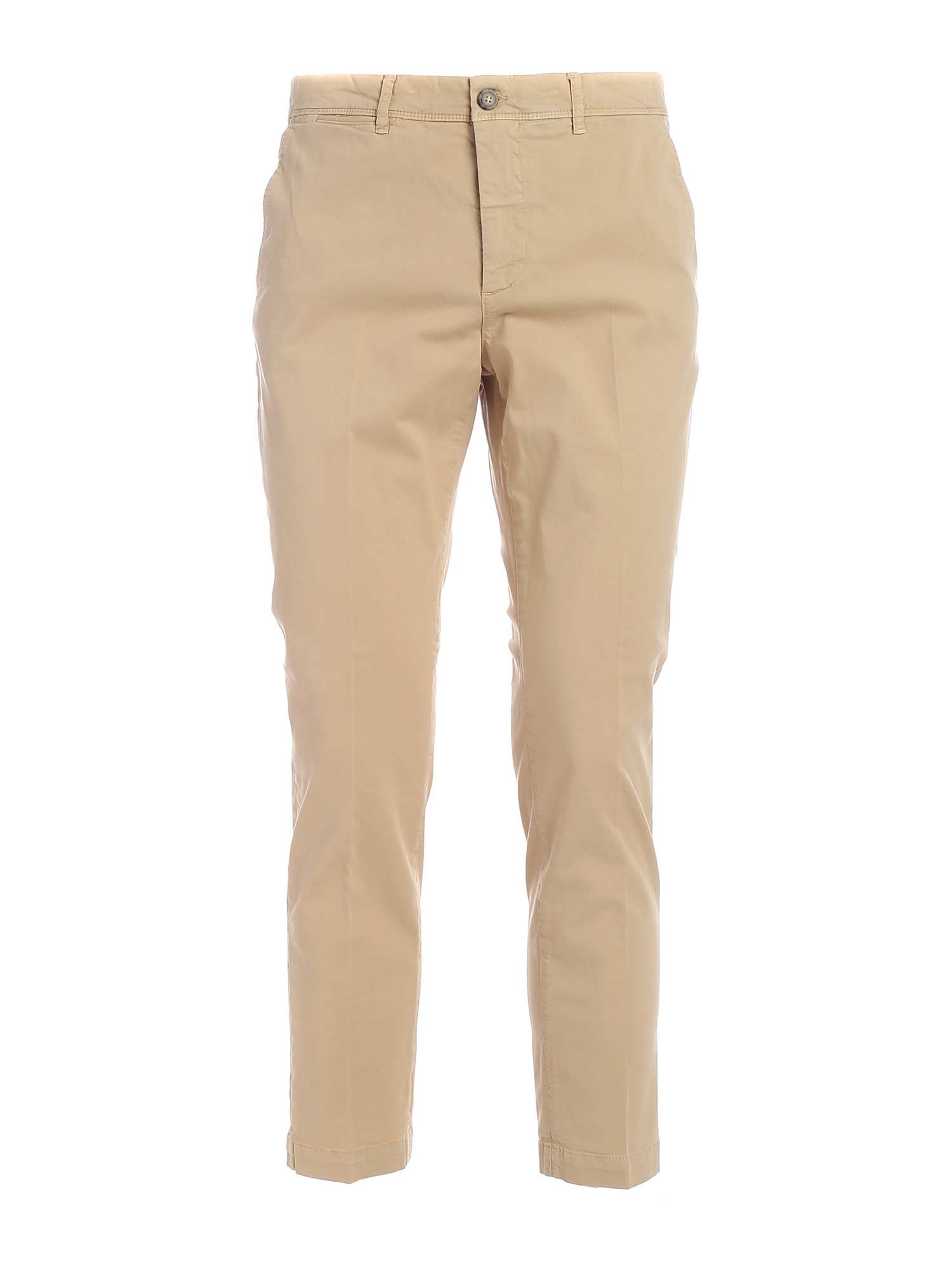 Peserico Cottons SLASH SIDE POCKETS PANTS IN BEIGE