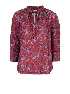See by Chloé - Floral Sweetheart blouse in blue and red