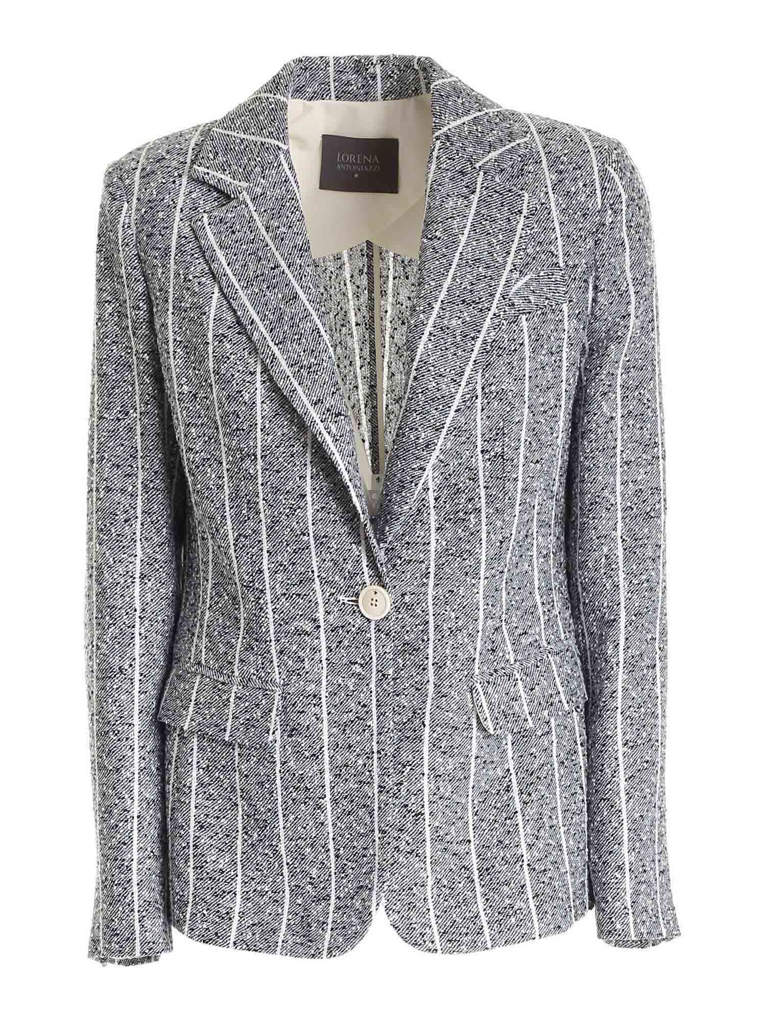 Lorena Antoniazzi Jackets SINGLE-BREASTED JACKET IN BLUE AND WHITE