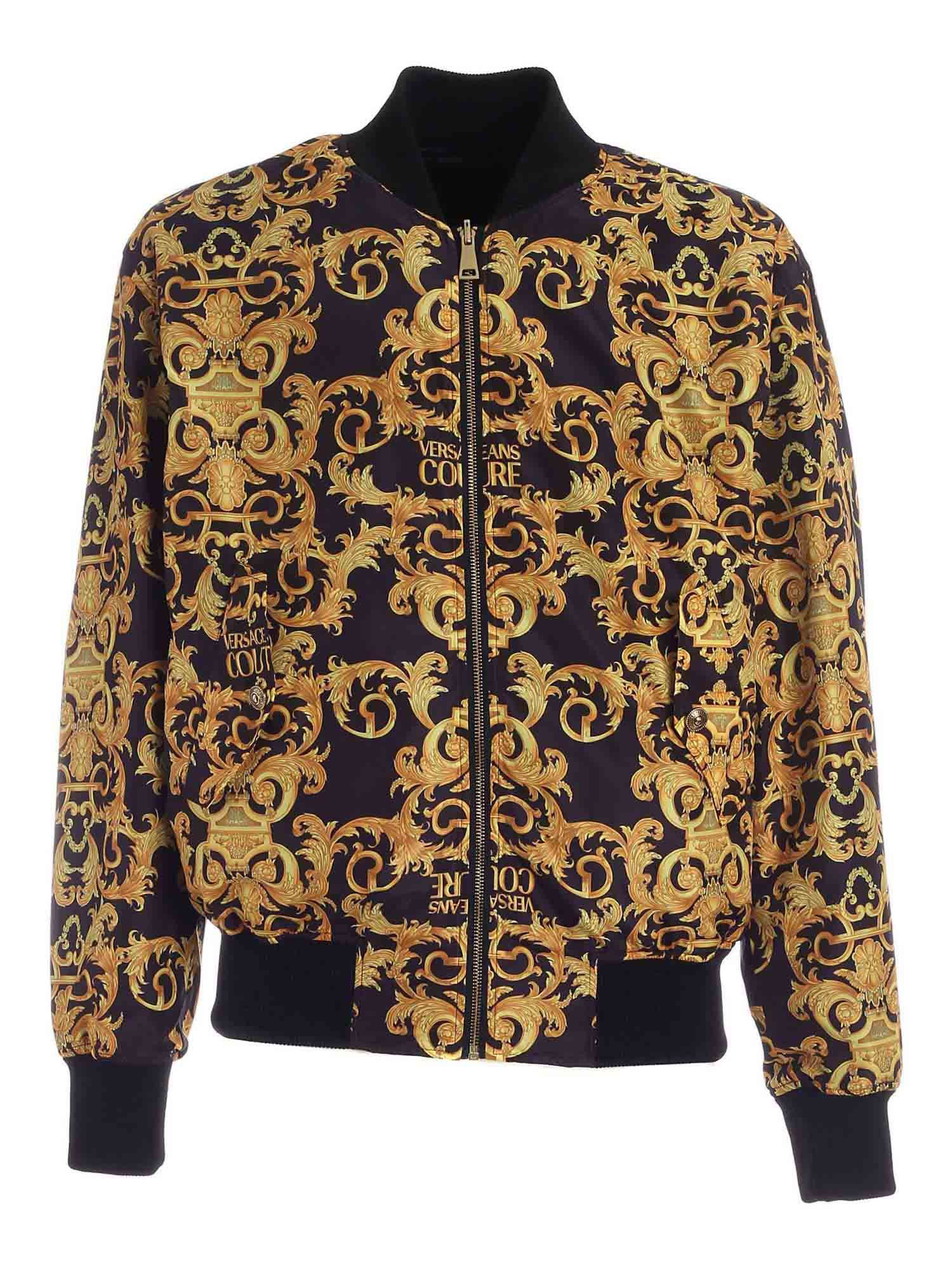 VERSACE JEANS COUTURE LOGO BAROQUE PRINT BOMBER JACKET IN BLACK