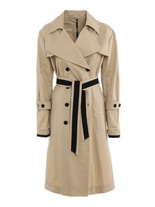 ADD - Cotton blend long trench coat in beige