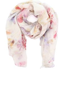Avant Toi - Floreal print cashmere blend stole in white