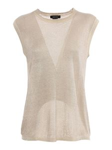 Avant Toi - Knitted linen viscose blend top in beige