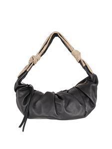 Borbonese - Duna leather and suede bag in black