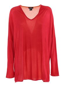 Avant Toi - Long sleeved T-shirt in red mélange