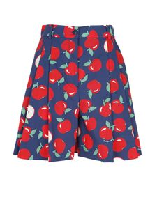 Moschino Boutique - Apple print Bermuda shorts in blue and red