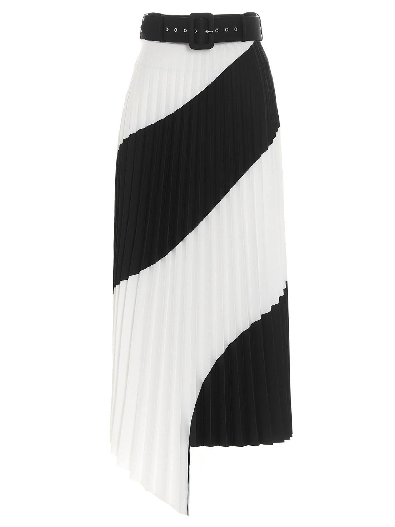 Off-White PLEATED SKIRT IN WHITE AND BLACK