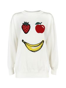 Moschino Boutique - Fruit smile intarsia sweater in white