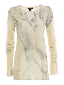 Avant Toi - Marmorized effect cashmere jumper in white