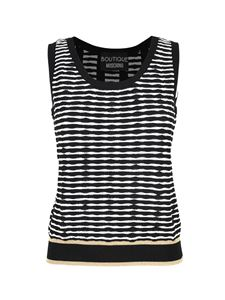 Moschino Boutique - Striped stretch top in white and black