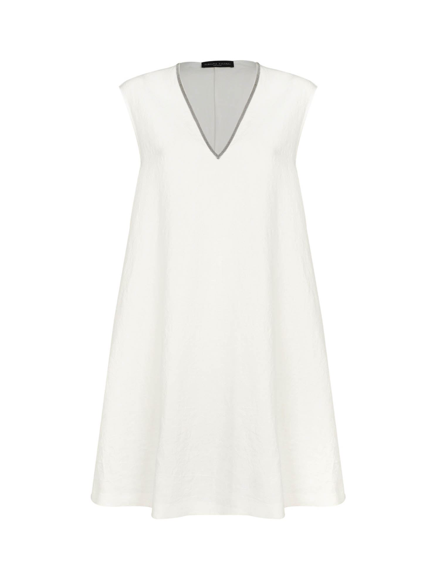 Fabiana Filippi BEADED LINEN DRESS IN PEPE BIANCO COLOR