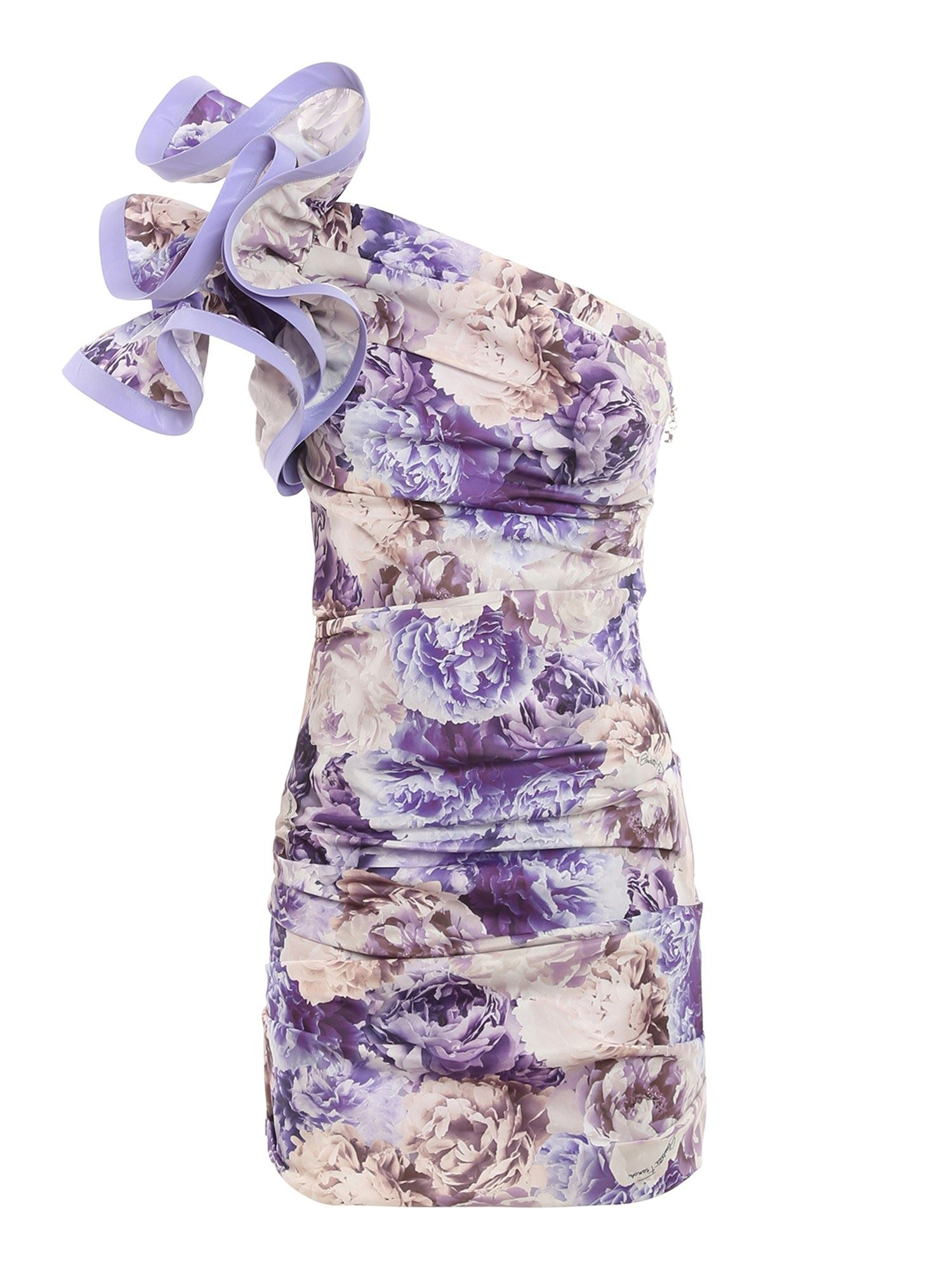 Elisabetta Franchi Dresses ONE SHOULDER RUFFLED DRESS IN PURPLE
