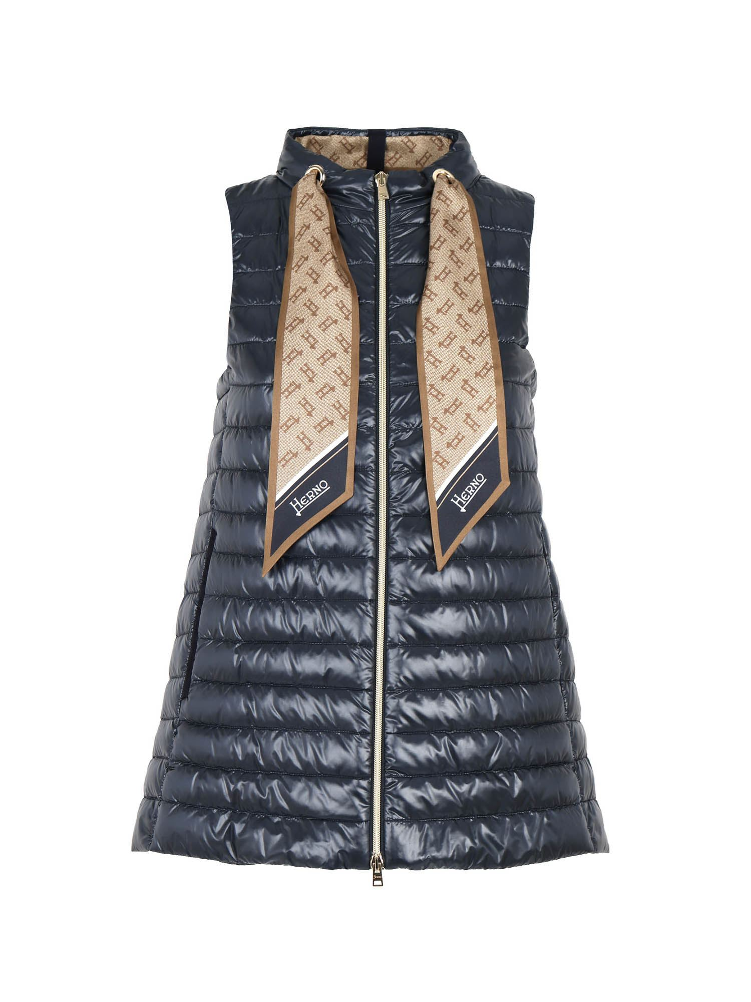 Herno SCARF SLEEVELESS DOWN JACKET IN BLUE