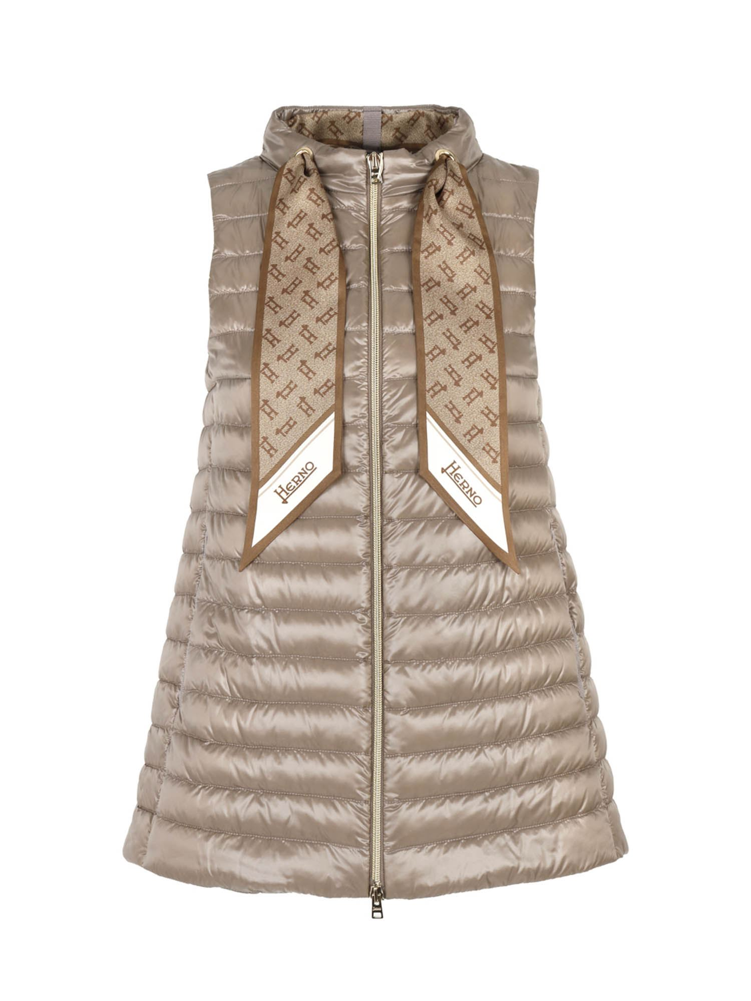 Herno SCARF SLEEVELESS DOWN JACKET IN DOVE GRAY