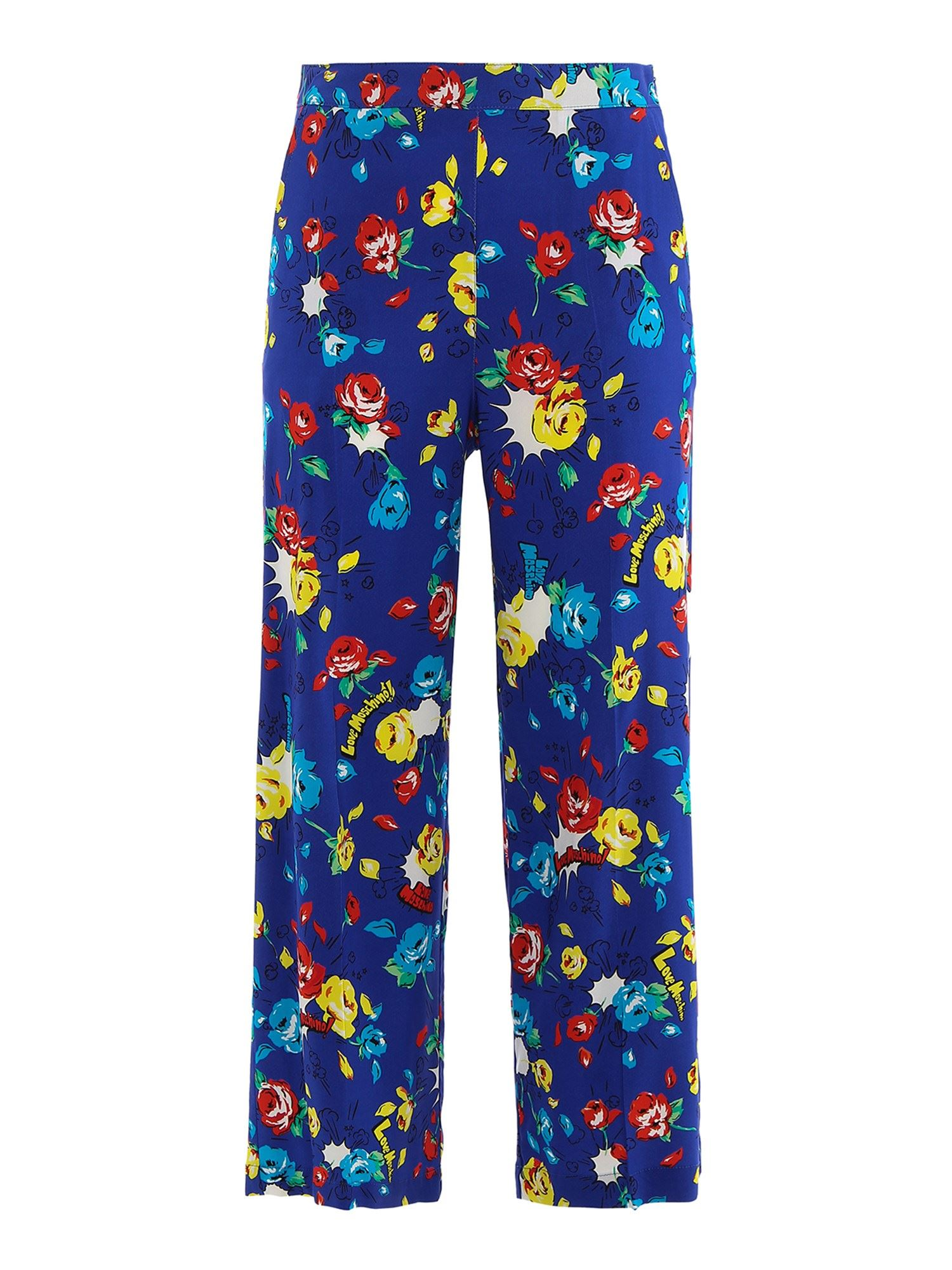 Moschino POP FLOWERS PANTS IN BLUE