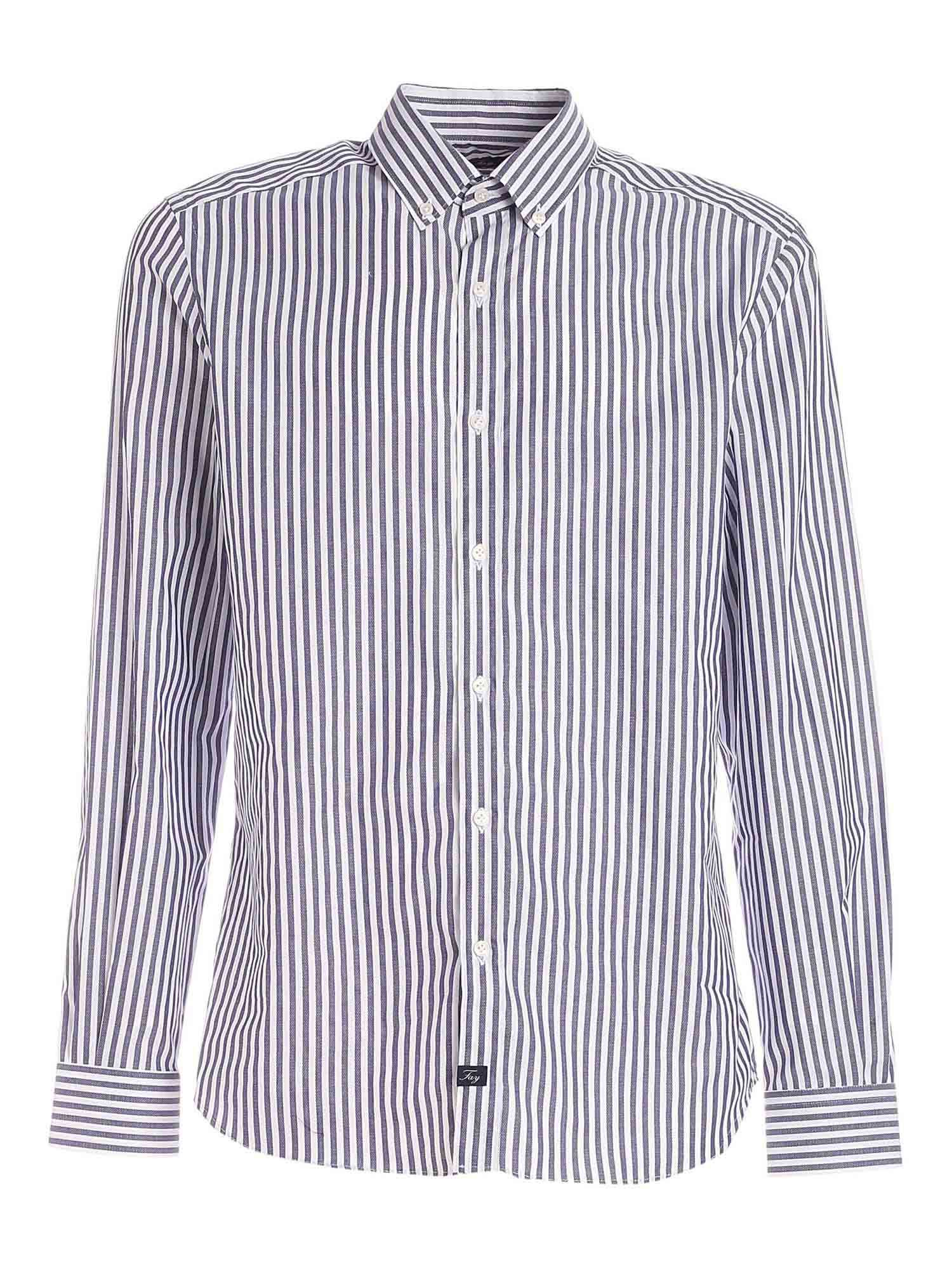 Fay STRIPED SHIRT IN WHITE AND BLUE