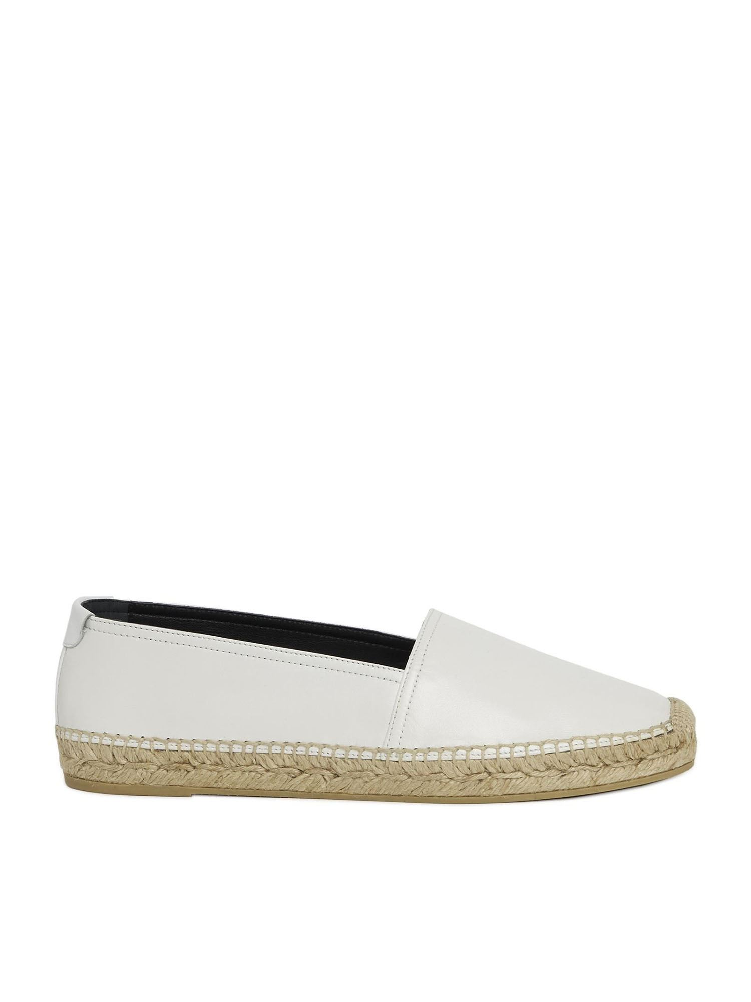 Saint Laurent LEATHER ESPADRILLES IN WHITE