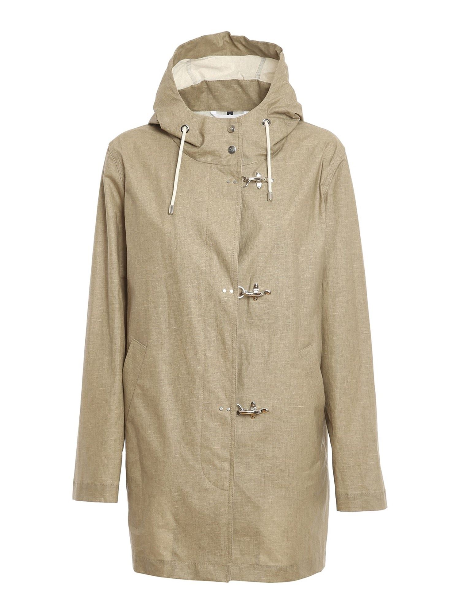 Fay Linens RESIN COTTON LINEN BLEND COAT IN BEIGE