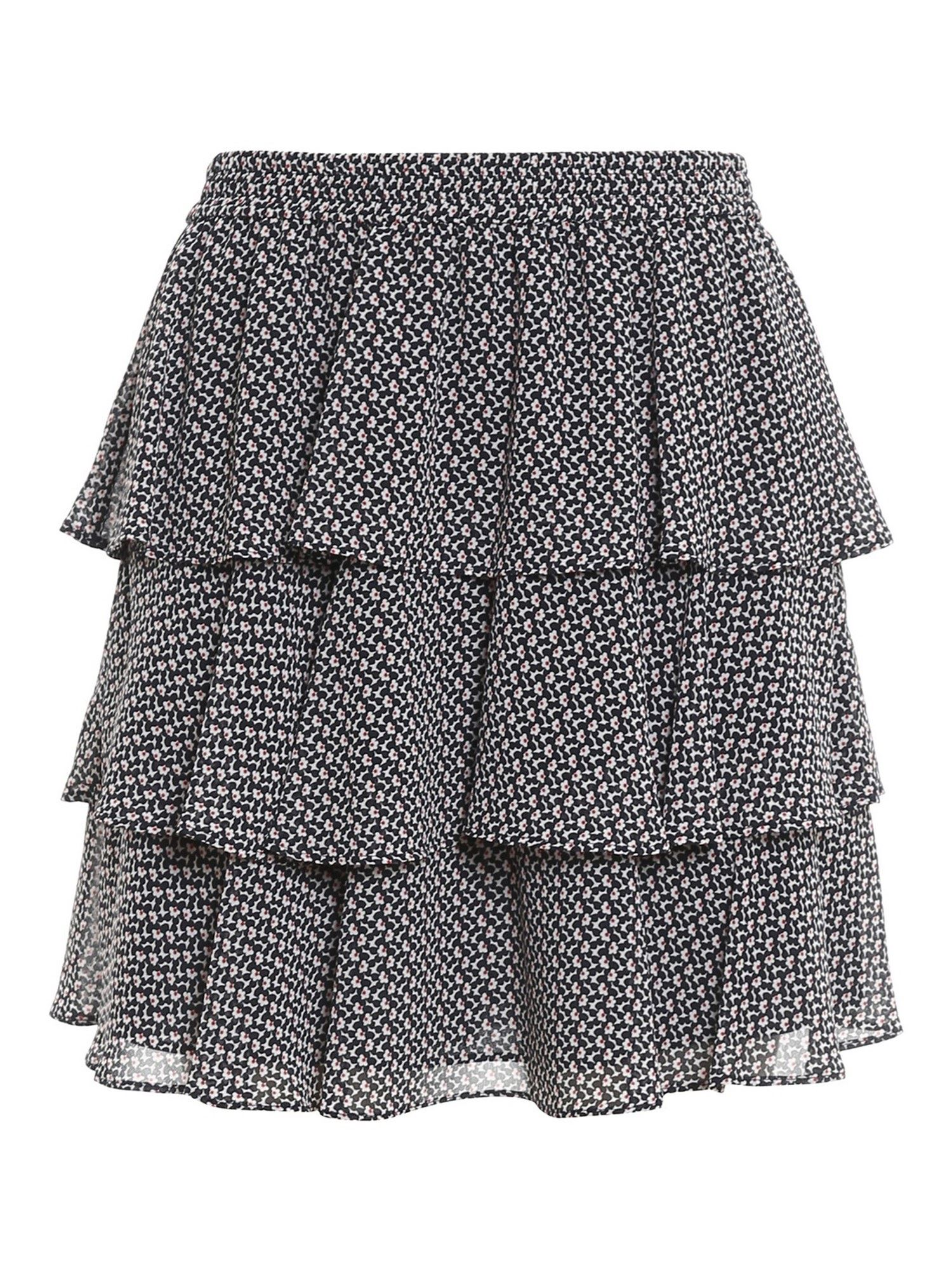 Michael Kors FLORAL PATTERNED CRÊPE MINI SKIRT IN BLUE