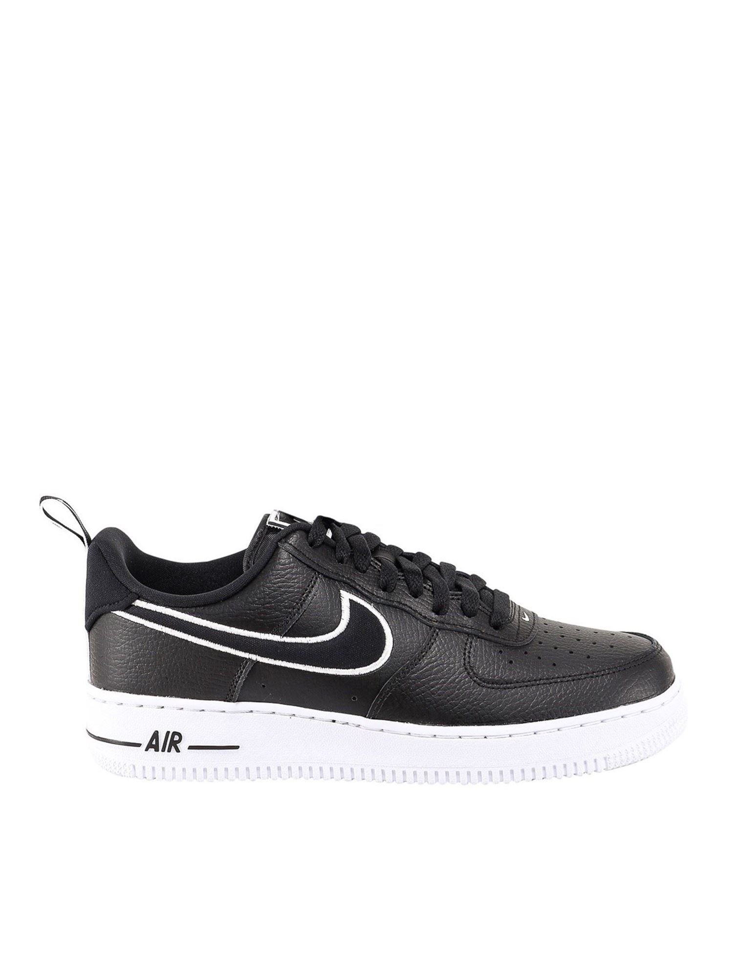 Nike AIR FORCE 1 FAUX LEATHER SNEAKERS IN BLACK