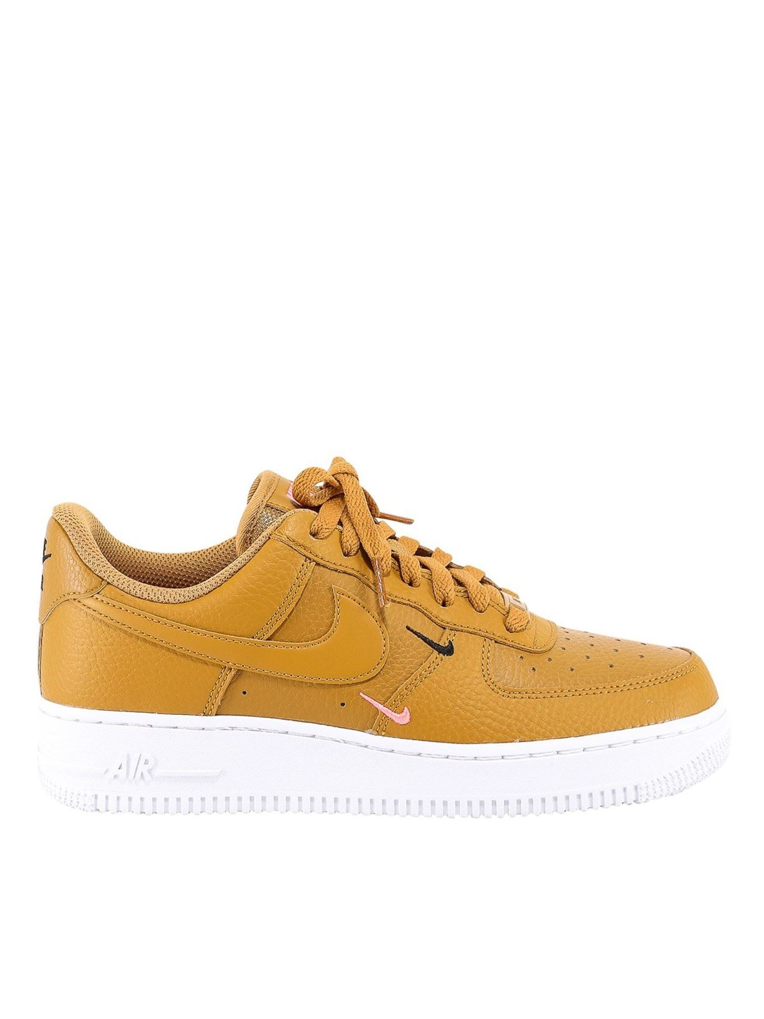 Nike AIR FORCE 1 LEATHER SNEAKERS IN YELLOW