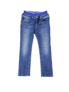 Emporio Armani - Waist logo band jeans in blue