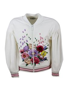 Monnalisa - Floral embroidery zipped sweatshirt in white