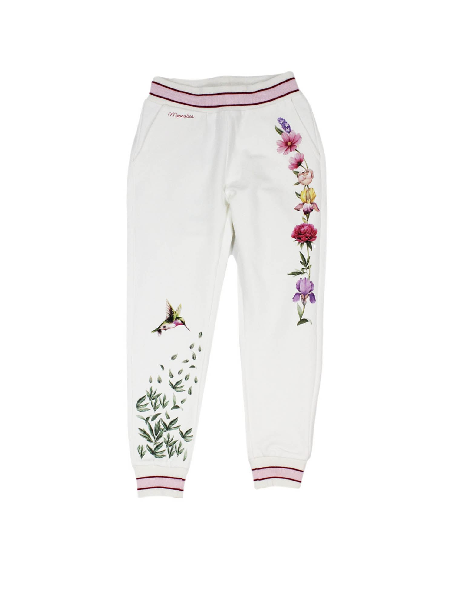Monnalisa Cottons FLORAL EMBROIDERY SWEATPANTS IN WHITE