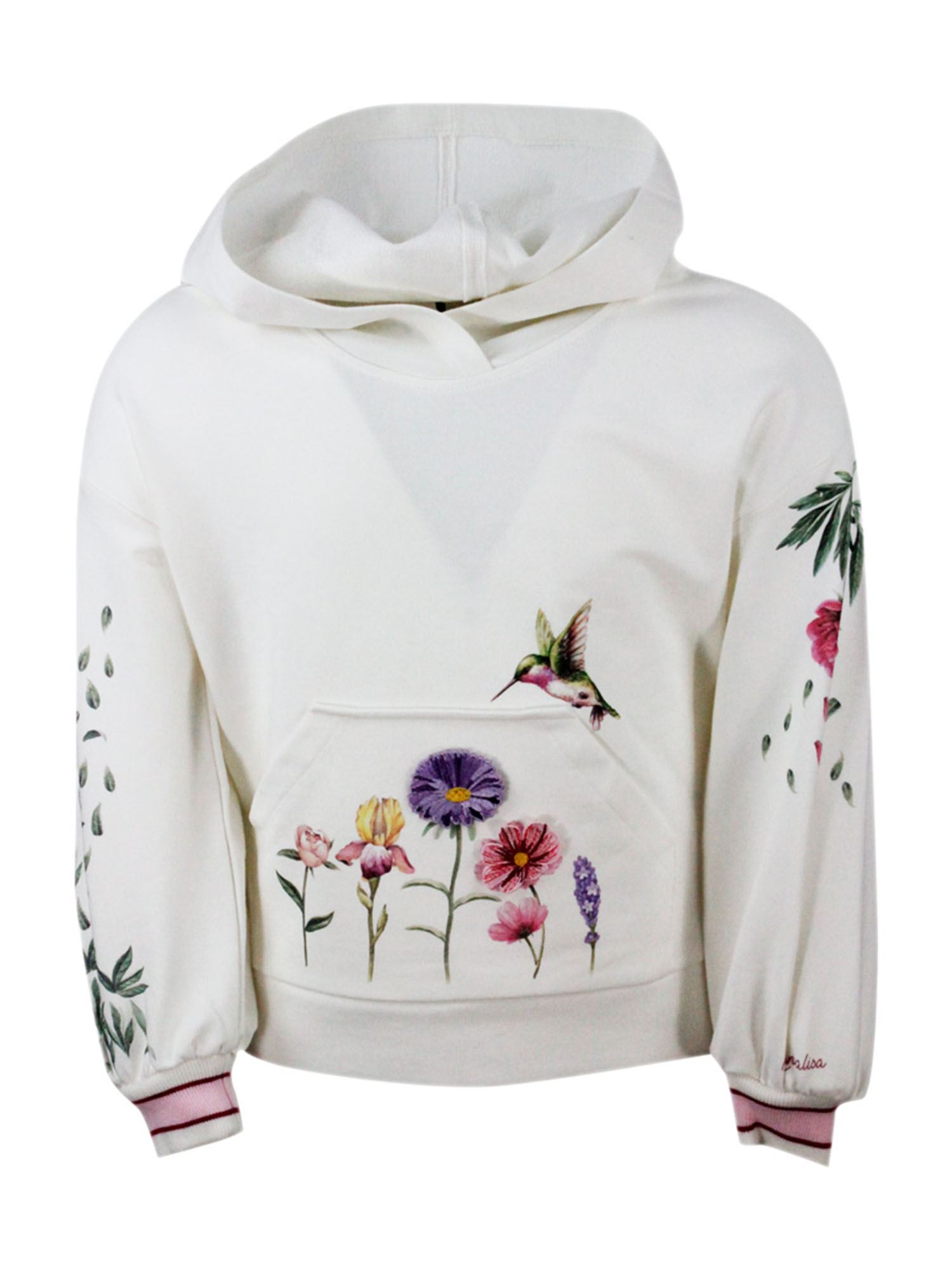 Monnalisa FLORAL EMBROIDERY HOODIE IN WHITE